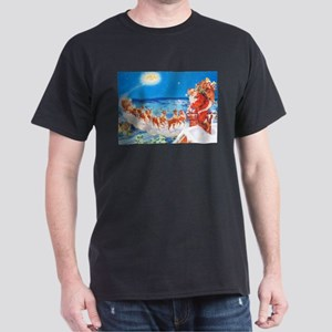 Santa Claus Up On The Rooftop Dark T-Shirt