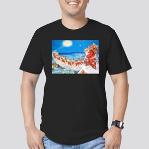 Santa Claus Up On The Men's Fitted T-Shirt (dark)