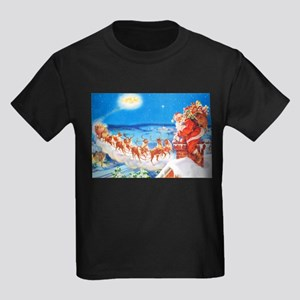 Santa Claus Up On The Rooftop Kids Dark T-Shirt