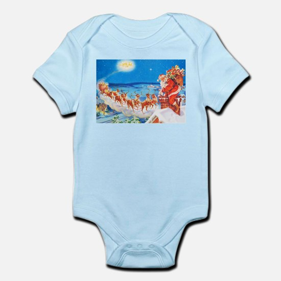 Santa Claus Up On The Rooftop Infant Bodysuit