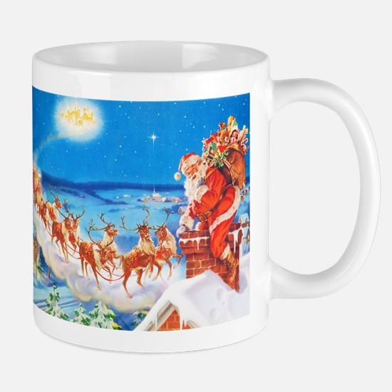 Santa Claus Up On The Rooftop Mug