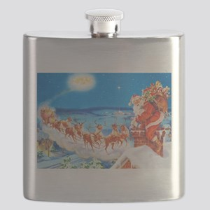 Santa Claus Up On The Rooftop Flask
