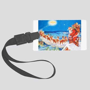 Santa Claus Up On The Rooftop Large Luggage Tag