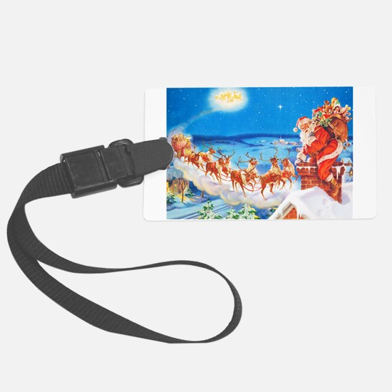 Santa Claus Up On The Rooftop Luggage Tag