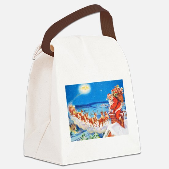 Santa Claus Up On The Rooftop Canvas Lunch Bag
