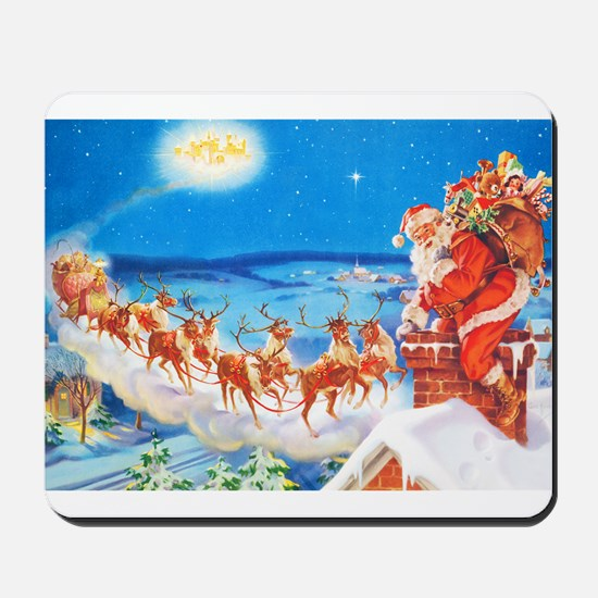Santa Claus Up On The Rooftop Mousepad
