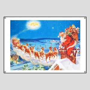 Santa Claus Up On The Rooftop Banner