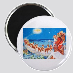 Santa Claus Up On The Rooftop Magnet