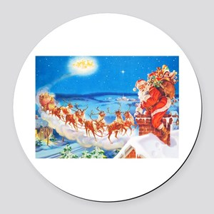 Santa Claus Up On The Rooftop Round Car Magnet