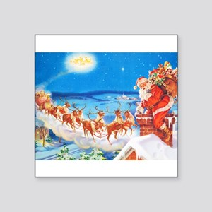 """Santa Claus Up On The Rooft Square Sticker 3"""" x 3"""""""