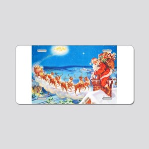 Santa Claus Up On The Rooft Aluminum License Plate