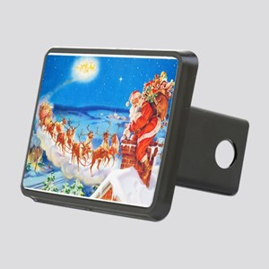 Santa Claus Up On The Roof Rectangular Hitch Cover