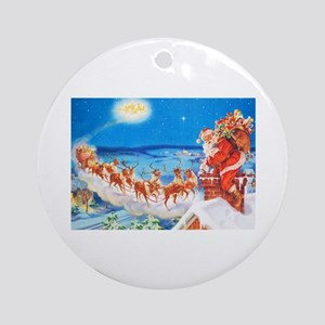 Santa Claus Up On The Rooftop Ornament (Round)