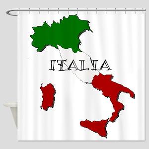 Italy Flag Map Shower Curtain