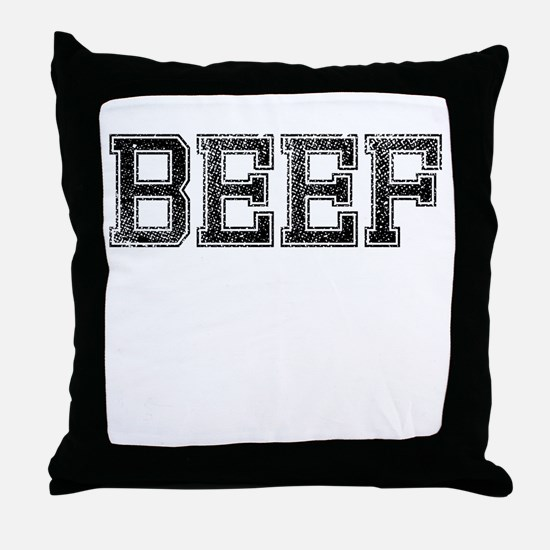 BEEF, Vintage Throw Pillow