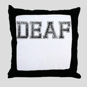 DEAF, Vintage Throw Pillow