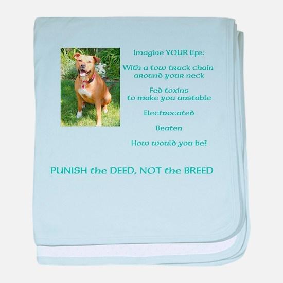 Bull Breed Education Aqua Print baby blanket