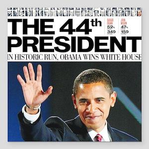 "44th President Square Car Magnet 3"" x 3"""