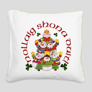 Irish Snowmen Square Canvas Pillow
