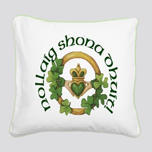 Christmas Claddagh Square Canvas Pillow