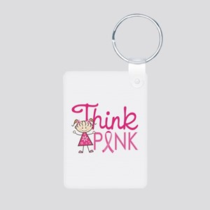 Think Pink Aluminum Photo Keychain