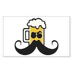 Beer Mustache Sticker (Rectangle 50 pk)