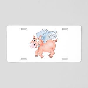 flying Pig 2 Aluminum License Plate