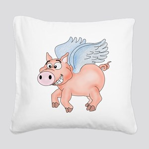 flying Pig 2 Square Canvas Pillow
