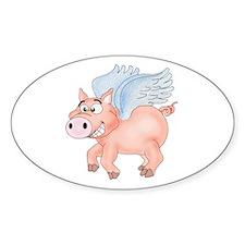 flying Pig 2 Sticker (Oval)