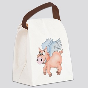 flying Pig 2 Canvas Lunch Bag
