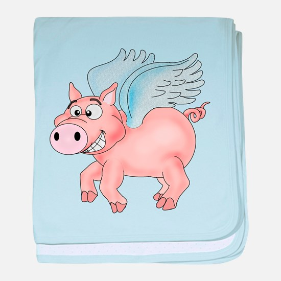 flying Pig 2 baby blanket