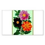 Colorful Flowers Vintage Sticker (Rectangle 10 pk)