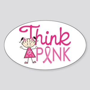 Think Pink Sticker (Oval)
