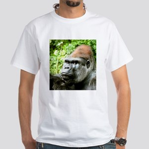 Earnie Silverback gorilla looking forward White T-