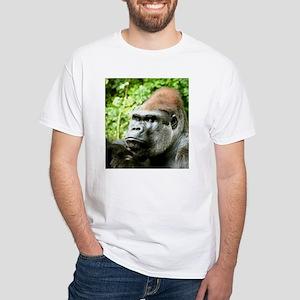 Earnie Silverback gorilla looking forward White T-