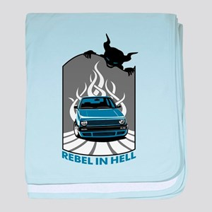 Rebel in hell (blue) baby blanket