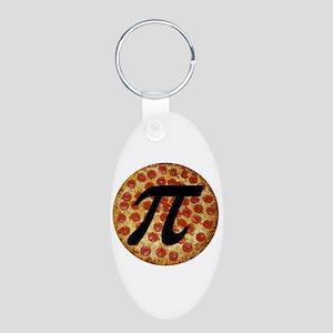 Pizza Pi Aluminum Oval Keychain
