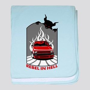 Rebel in hell (red) baby blanket