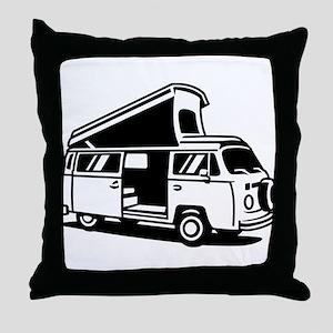 Family Camper Van Throw Pillow