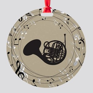 French Horn Musical Gift Round Ornament