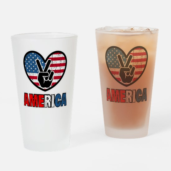 American Flag Peace Sign Heart Drinking Glass