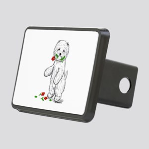 Red Flower Westie II Rectangular Hitch Cover