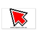 Large mouse pointer red Sticker (Rectangle 50 pk)