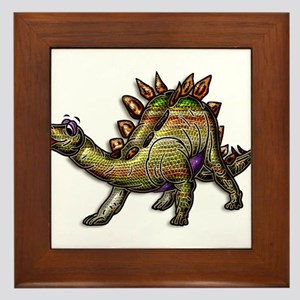 Scaly Rainbow Dinosaur Framed Tile