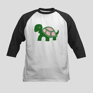 Tiny Pink Girl Turtle Kids Baseball Jersey