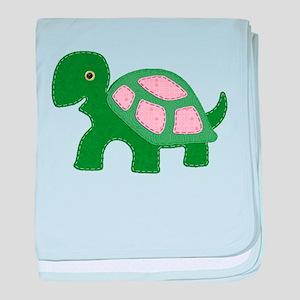 Tiny Pink Girl Turtle baby blanket