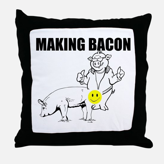Making bacon Throw Pillow