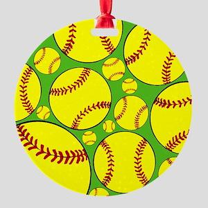 Softball Round Ornament