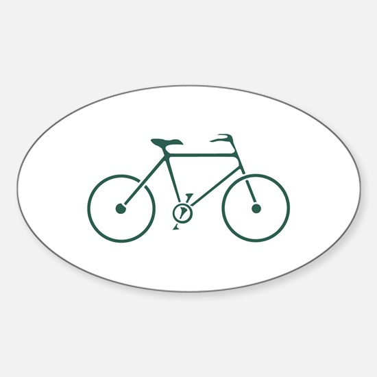 Green and White Cycling Sticker (Oval)