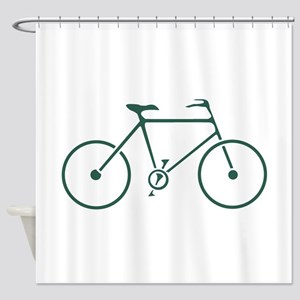 Green and White Cycling Shower Curtain